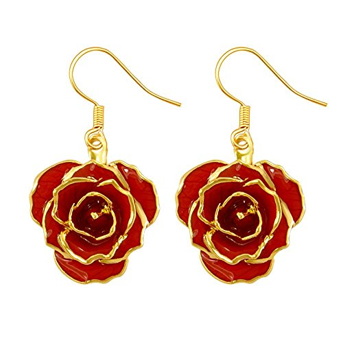 24k Gold Dipped Roses - DEFAITH Birthday Jewelry 24K Gold Dipped Rose Earrings Red - Made of Fresh Rose, Last Forever - Unique Anniversary Gifts for Her Women Wife Girlfriend