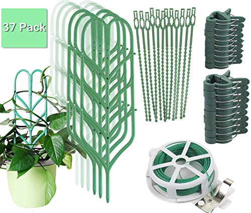 Indoor Plant Trellis for Climbing Plants Bundle Pack - 6 Leaf Shape Garden Plant Supports Houseplants Trellis, 18 Plant Clips, 12 Zip Ties, 1 Roll Wire Twist Tie for Potted Vine Vegetable Flower