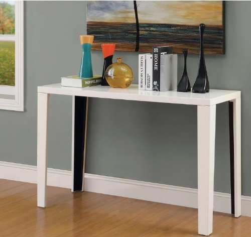 Euro Modern White Gloss Lacquer Console Sofa Hallway Accent Table Includes Modhaus Living (TM) - Gray Le Eileen Corbusier