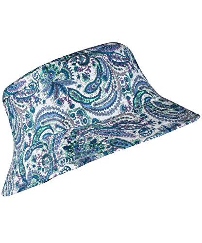 Summer Sun Hats for Women Paisley Design Print Blue Print Bucket Hat Sun Caps (Bucket Hat Wholesale)