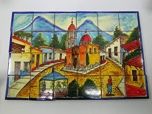 TALAVERA MOSAIC MURAL, mexican handpainted tile, backsplash, small town scene (Mural Mosaic Art Scene Tile)