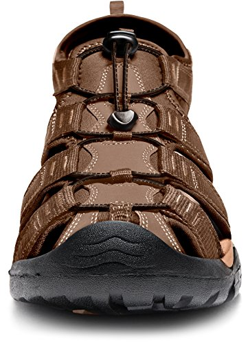 ATIKA Men's Outdoor Hiking Sandals, Closed Toe Athletic Sport Sandal, Lightweight Trail Walking Sandals, Summer Water Shoes, Orbital(m150) - Brown, 7