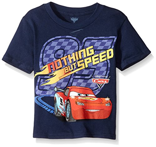 Disney Little Boys' Toddler Cars Nothing But Speed Short Sleeve T-Shirt, Navy, 4T