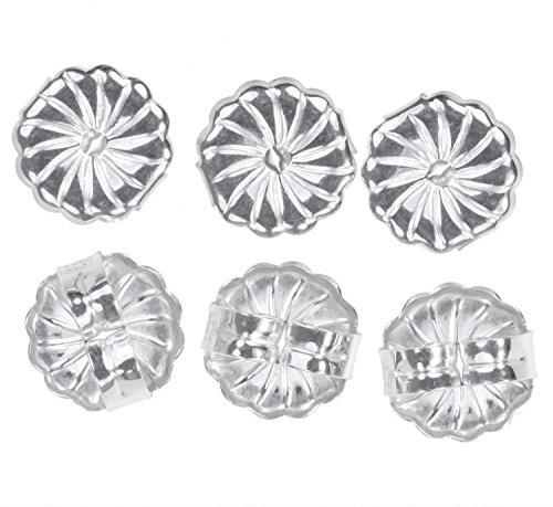 12 Pcs Sterling Silver Medium Earring Backs Premium Rhodium Swirl 7mm