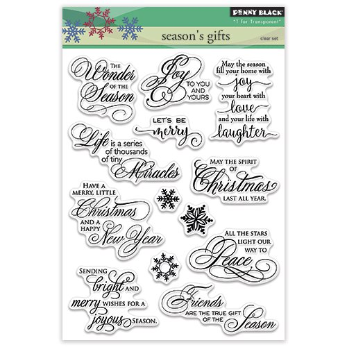 Penny Black 30-316 Season's Gifts Transparent Decorative Rubber Stamp Set -