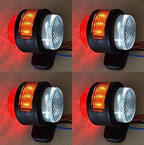 2/x Unique chrom-Finish 24/V LED Seite Outline Marker Lights Truck LKW Auflieger Chassis Caravan