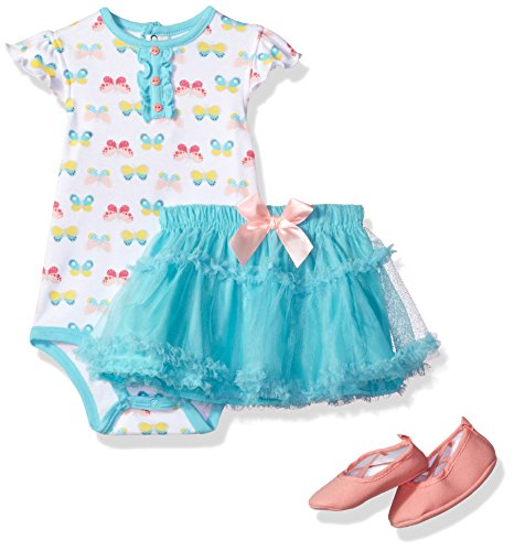 BON BEBE Baby Girls' 3 Pc Rear Snap Bodysuit Set With Tutu and Ballerina Slippers, Rainbow Butterflies, 12 Months