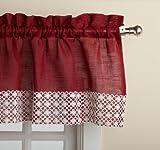 Kitchen Window Treatments Red Lorraine Home Fashions Salem 60-inch x 12-inch Tailored Valance, Burgundy