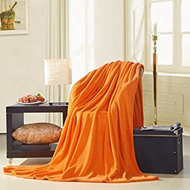 uxcell® Super Soft Warm Rug Luxury plush Fleece Throw Blanket, Suitable for Chair or Bed, Machine Washable,Orange, 200 x 230 cm (78  x 90 )