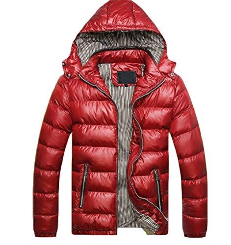 Down Hood Men's Coats Jacket Padded Removable Winter Short with Gocgt Red aTqXzT