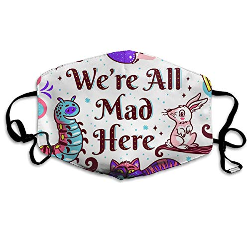 CFECUP Mouth Mask Mad Alice in Wonderland Anti-dust Polyester Face Mask Unisex ()