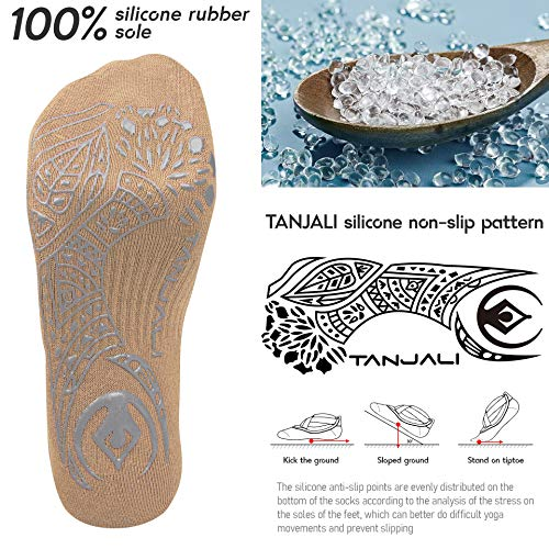 TANJALI Yoga Socks with Grips for Women Size 5.5-11, Grip& Non-Slip Yoga Socks for Workout, Dance, Pilates, Ballet and Barre