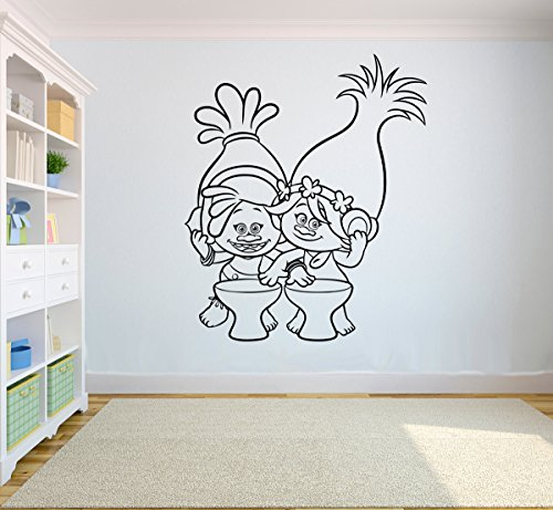 Trolls Poppy and Dj Suki Black and White Wall Sticker