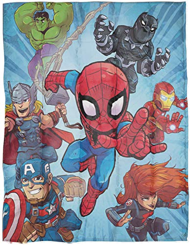 Jay Franco Marvel Super Hero Adventures Burst Weighted Blanket 4.5 lbs – Measures 36 x 48 inches, Kids Bedding Featuring Avengers – Fade Resistant Super Soft Velboa – (Official Marvel Product)