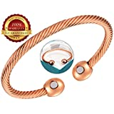 BisLinks® 99.9% Solid Copper Magnetic Health Bracelet with Strong 2 Magnets (3000 Guass Each) for Arthritis Pain Relief Healing Magnet Therapy & Wrist Bracelets Twisted Rope Negative Energy Increased