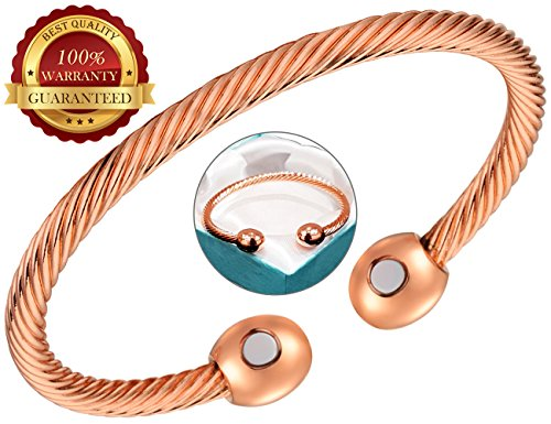 (BisLinks® 99.9% Solid Copper Magnetic Health Bracelet with Strong 2 Magnets (3000 Guass Each) for Arthritis Pain Relief Healing Magnet Therapy & Wrist Bracelets Twisted Rope Negative Energy Increased)