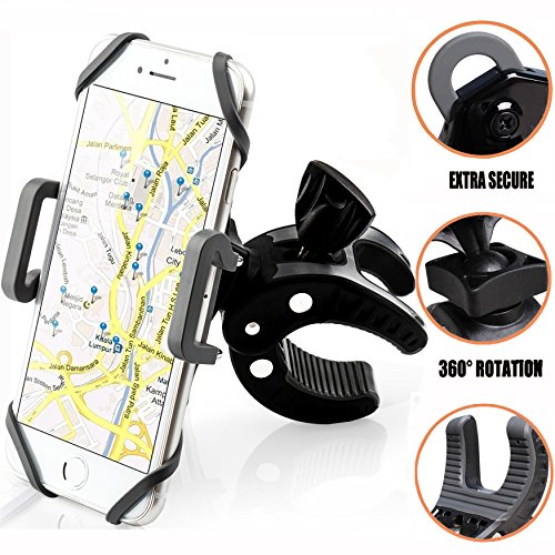Bike Phone Mount Bicycle Holder, KSACLE 360° Rotatable Cell Phone Mount, Bicycle Handlebar & Motorcycle Holder Cradle for