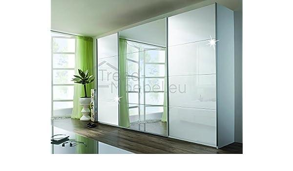 Rauch V9333.V977 Quadra - Armario de puertas correderas (3 puertas, 1 puerta con espejo, 315 x 210 x 62 cm), color blanco: Amazon.es: Hogar