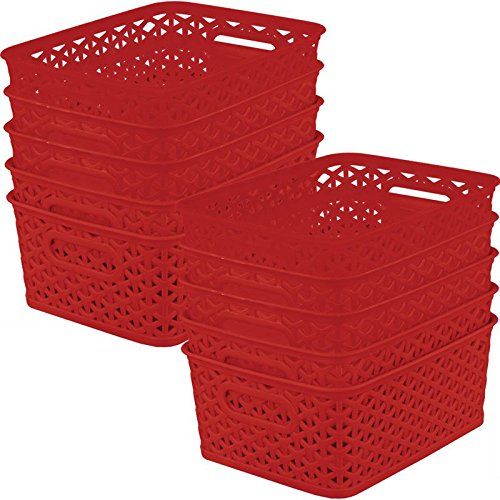 Really Good Stuff 10 x 7 Supply Baskets - 12-Pack Single Colors (Red)