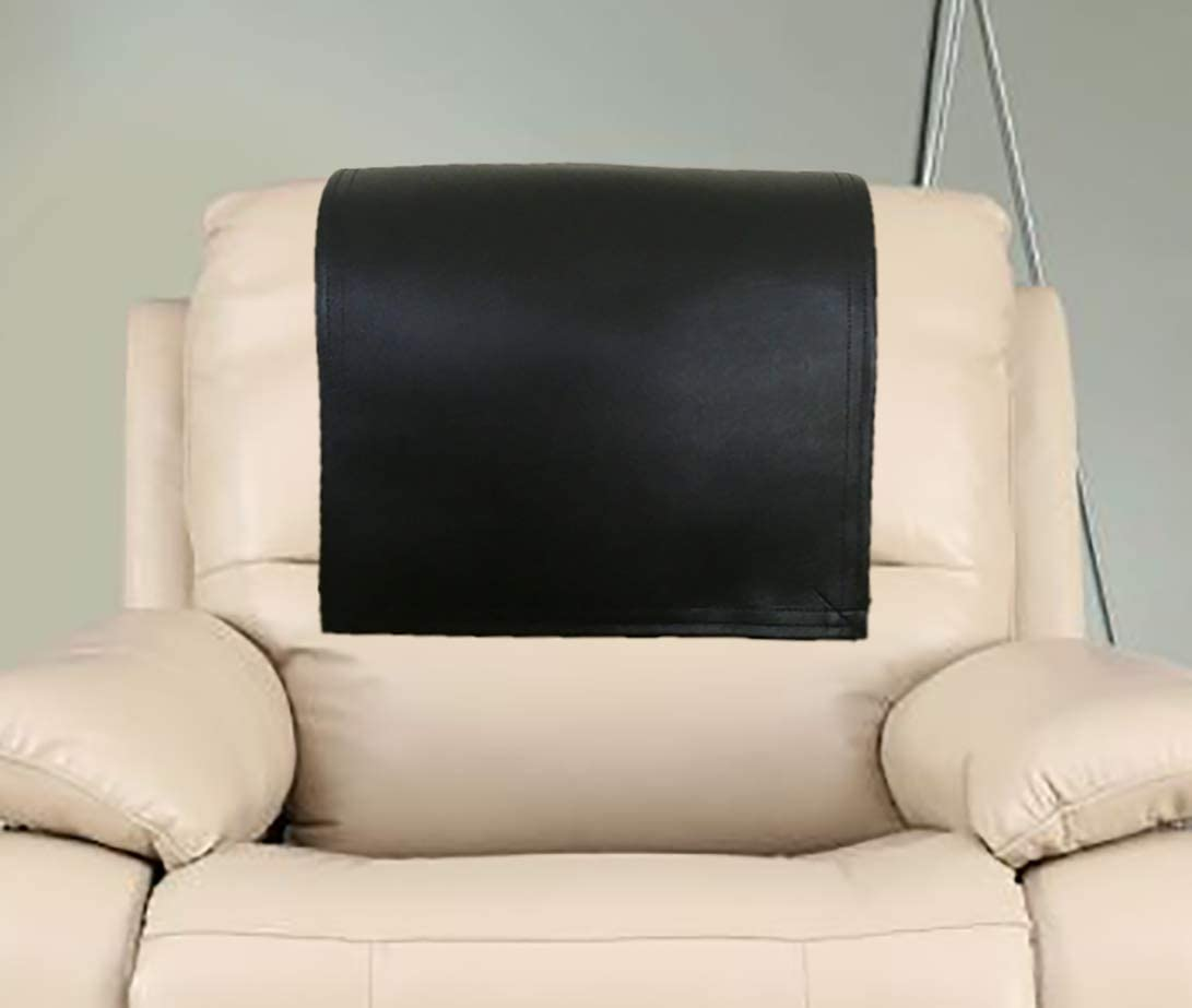 Trimbark Genuine Leather Recliner Chair Headrest Cover, Furniture Protector, Loveseat Theater Seat Cover, Recliner Slipcovers Black 18X26 Set of 1