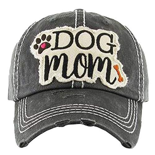 (KB Adjustable Ladies Womens Dog Mom Bone Puppy Paw Cap Hat (Black))