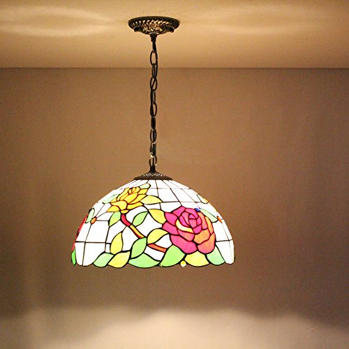 (TOYM US-16 inches peony Tiffany stained glass chandelier Hand Rose Restaurant & Bar)