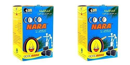 2 - Box of 108pcs Coconut Coco nara coconara Premium Lighting Hookah Hokah charcoal coals- TOTAL 216pcs
