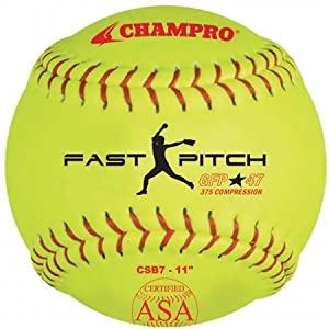 Champro Game ASA Fast Pitch .47 COR, 375 Compression, Poly Synthetic Cover, Red Stiches (Optic Yellow, 11-Inch), PACK OF 12