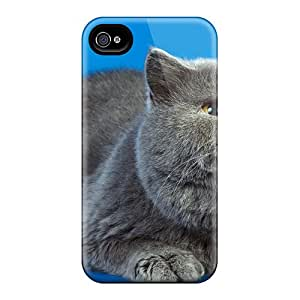 Special Design Back Brithis Gray Cat Phone Case Cover For Iphone 4/4s