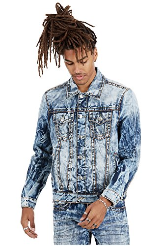 True Religion Men's Big T Denim Trucker Jacket In Moving Water (Large) (True Religion Jean Jacket)
