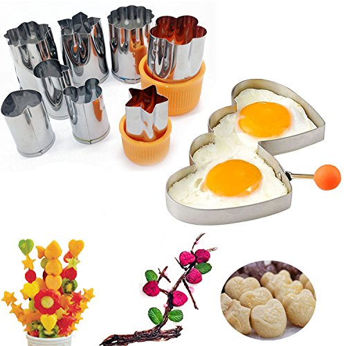 Small Flower Round Heart Star Animal Cookie Cutter Press Stamp Kit Vegetable Fruit Snacks Bouquet Cutter Stainless Steel DIY Bear Rabbit with Double Heart Egg Mold Kitchen Baking Tool (Snack Bouquets)