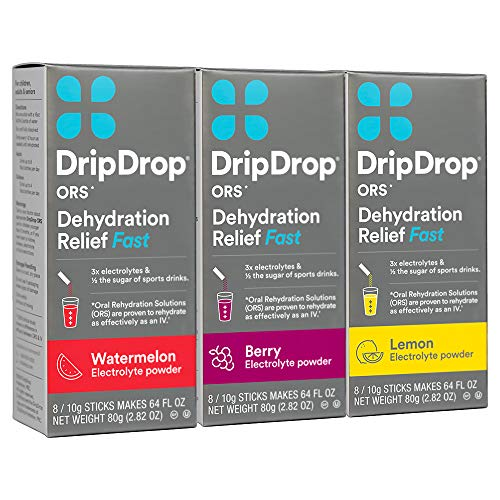 (DripDrop ORS Electrolyte Hydration Powder Sticks, Lemon/Berry/Watermelon Variety Pack, Individual 10g Sticks, 24 Count)