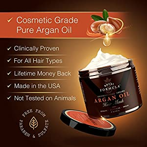 Argan Oil Hair Mask, 100% ORGANIC Argan & Almond Oils – Deep Conditioner, Hydrating Hair Treatment Therapy, Repair Dry Damaged, Color Treated & Bleached Hair – Hydrates & Stimulates Hair Growth, 8 Oz