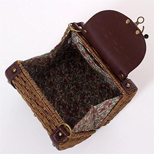 Bolsa de de Amarillo mano a nbsp;Bolso nbsp;– bolsa Claro almacenamiento de tejida hombro houseHome ratán bolso bandolera Retro playa hecho z06nf0qZ