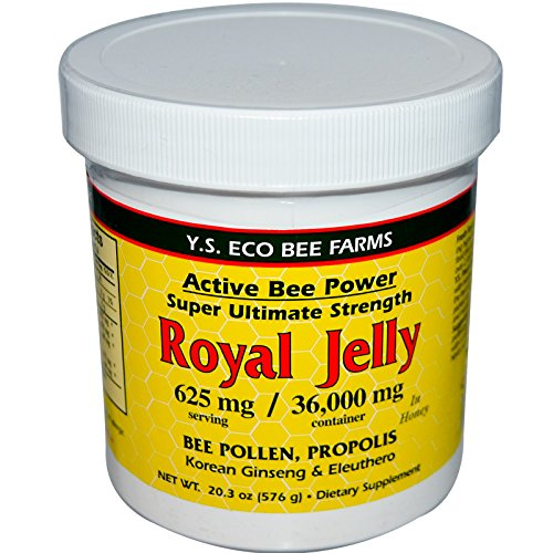 Fresh Royal Jelly Bee Pollen, Propolis, Ginseng, Honey Mix – 36,000mg Y.S. Org 20.3 oz Pack of 2
