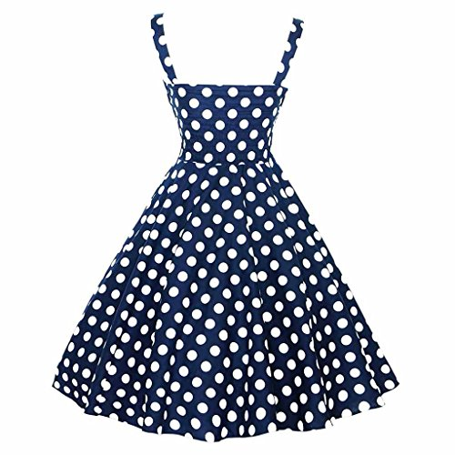 Cocktail Blue Shoulder Wave s Court Waist Point Slim Red Style High Summer Women Navy Off Royal Retro Fluffy Dress UaqF4wxW