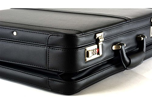 Alpine Swiss Expandable Leather Attache Briefcase Dual Combination Locks 1 Year Warranty by alpine swiss (Image #6)