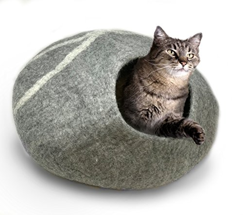 100% Natural Wool LARGE Cat Cave - Handmade Premium Shaped Felt - Makes Great Covered Cat House and Bed for Kitty. For Indoor Cozy Hideaway. Large Pod Soft Hooded Bed Area. (Light Gray, Large)