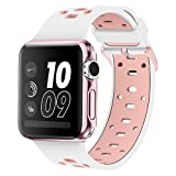 Band for Apple Watch 38mm, Alritz [Patent Pending] Silicone Sport Straps Replacement Wristband Bracelet for Apple Watch Nike+, Series 2, Series 1, Sport, Edition, White & Pink