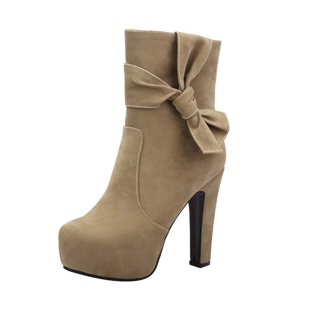 HhGold Runde Kopf Wasserdichte high Heel Mode seitlichem reißverschluss sexy Damen Kurze Stiefel (Farbe   Khaki Größe   7)