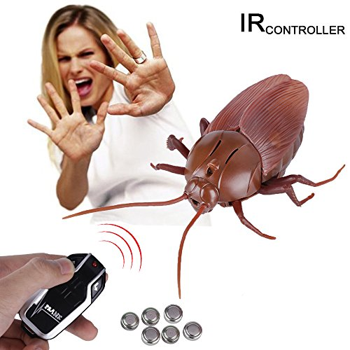 (Messar Upgraded RC Cockroach Toy, Infrared Remote Control Mock Fake Giant Cockroach Toy Model Prank Insects Joke Scary Trick Bugs for Christmas Halloween Party Kids Gift)