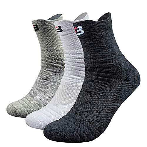 Mens Athletic Crew Socks for Basketball Cotton Sports Compression Socks Cushion Quarter Ankle Sock 3 or 6 ()