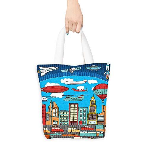 Portable Shopping Bag Cartoon Busy City Metropolis with Hot Air Balloon Zeppelin Plane Ufo Urban Town Graphic Multicolor (W15.75 x L17.71 -