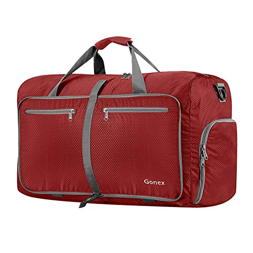 Gonex 60L Foldable Travel Duffel Bag Water & Tear Resistant, Red