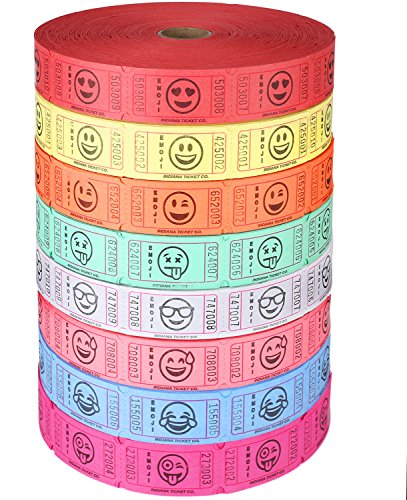 BUNDLE OF 4 ROLLS: Raffle Roll of 2,000 Consecutively Numbered Tickets, ASSORTED Emoji Crying, Smiling, Tear Drop, Wink, Sunglass, Hanging Tongue, Heart Eyed, Silly Faceby Indiana Ticket - Sunglass Best Company