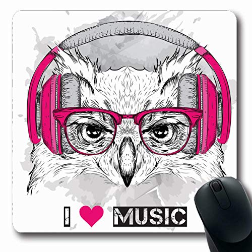 Ahawoso Mousepads for Computers Owl Hipster Glasses Headphones Head Heart Vintage Asia Batik Bird Club Dance Oblong Shape 7.9 x 9.5 Inches Non-Slip Oblong Gaming Mouse Pad