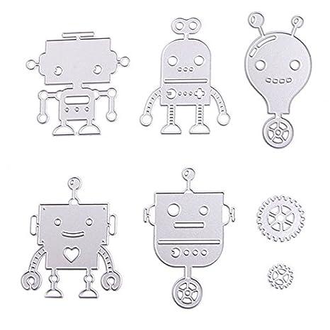 Mingo Robot Serie plantillas de corte diseño de metal molde para DIY Scrapbooking álbum de repujado papel Tarjeta: Amazon.es: Juguetes y juegos