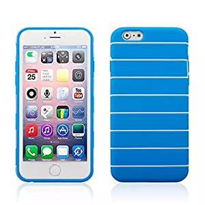 PIZU Cute Stripes Flexible and Soft TPU Silicon Case for Apple iPhone 6 4.7 Inch Blue