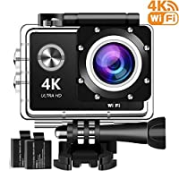 4K Action Camera, 16MP WiFi Ultra HD Underwater Waterproof 30M Sports Camcorder with 170° Degree Wide Angle Lens, 2Rechargeable Batteries and Mounting Accessories Kits 4KF002