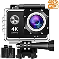 4K Action Camera, 16MP WIFI Ultra HD Underwater Waterproof 30M Sports Camcorder with 170° Degree Wide Angle Lens, 2Rechargeable Batteries and Mounting Accessories Kits